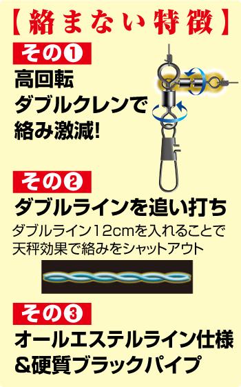 【絡まない特徴】 その1 高回転 ダブルクレンで絡み激減! その2 ダブルラインを追い打ち ダブルライン12cmを入れることで天秤効果で絡みをシャットアウト その3 オールエステルライン仕様&硬質ブラックパイプ